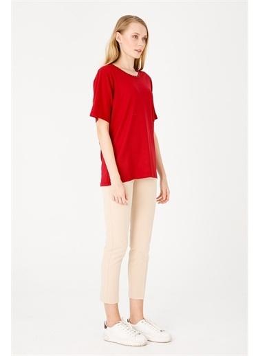 Desen Triko Bluz Kırmızı